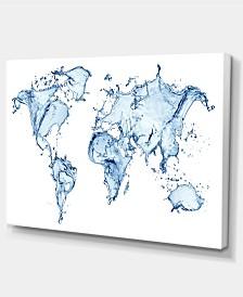 "Designart World Map Water Splash Abstract Map Canvas Art Print - 32"" X 16"""