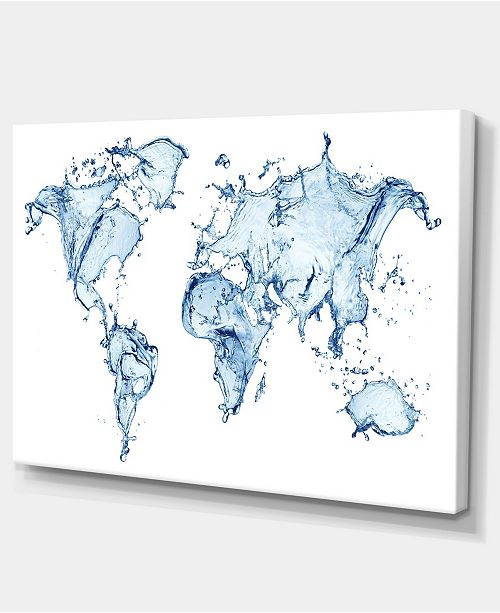 "Design Art Designart World Map Water Splash Abstract Map Canvas Art Print - 32"" X 16"""