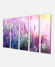 "Designart Growing And Blooming Lavender Floral Canvas Art Print - 60"" X 28"" - 5 Panels"