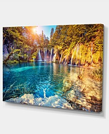 "Designart Turquoise Water And Sunny Beams Photography Canvas Print - 32"" X 16"""