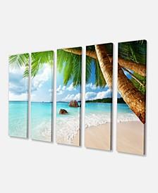 "Designart Praslin Island Seychelles Beach Canvas Print - 60"" X 28"" - 5 Panels"