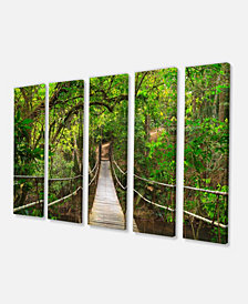 "Designart Bridge To Jungle Thailand Photo Canvas Art Print - 60"" X 28"" - 5 Panels"