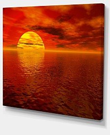 "Designart Sun Falling To Yellow Ocean Large Seashore Canvas Print - 40"" X 30"""