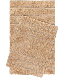 Nicole Miller Newton Reversible Cut and Loop Stripe 2-Piece Cotton Bath Mat Set