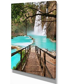 "Designart Stairway Into Beautiful Waterfall Oversized Landscape Canvas Art - 12"" X 20"""