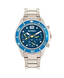 Quartz Pegasus Blue Face Multi-Function Silver Alloy Watch 46mm