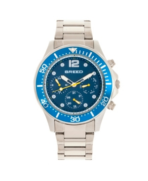 Breed Quartz Pegasus Blue Face Multi-Function Silver Alloy Watch 46mm