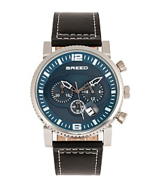 Breed Quartz Ryker Blue Face Chronograph Genuine Black Leather Watch 45mm