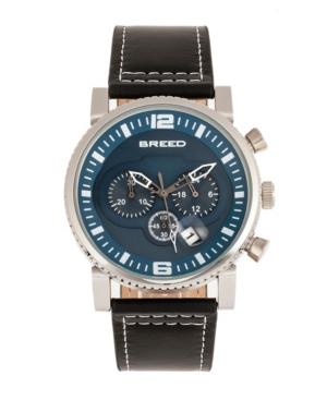 Breed Quartz Ryker Blue Face Chronograph Genuine Black Leather Watch 45mm