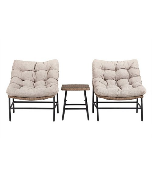 Walker Edison Outdoor Rounded Scoop Chair Set with Side Table