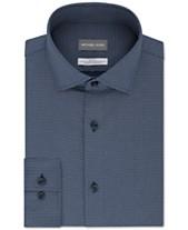 fc015b70169 Michael Kors Men s Slim-Fit Non-Iron Airsoft Performance Stretch Blue Neat  Dress Shirt