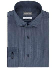 Michael Kors Men's Slim-Fit Non-Iron Airsoft Performance Stretch Blue Neat Dress Shirt