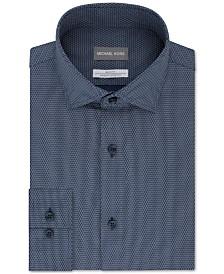 Michael Kors Men's Slim-Fit Non-Iron Airsoft Performance Stretch Blue Neat Dress Shirt