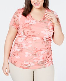 I.N.C. Plus Size Double-Layer V-Neck T-Shirt, Created for Macy's