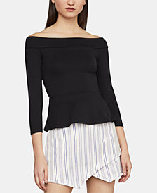 BCBGMAXAZRIA Alea Off-The-Shoulder Peplum Top