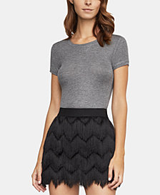 BCBGMAXAZRIA Ribbed Short-Sleeve Top