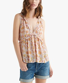 Lucky Brand Printed Sleeveless Ruffle Top
