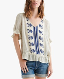 Lucky Brand Border-Print V-Neck Ruffle Top