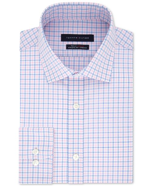 19231fb1 ... Tommy Hilfiger Men's TH Flex Fitted Non-Iron Stretch Check Dress Shirt  ...