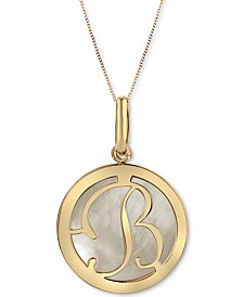 "Mother of Pearl (16-3/4mm) Initial 18"" Pendant Necklace in 10k Gold"