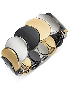 Alfani Tri-Tone Disc Stretch Bracelet, Created for Macy's