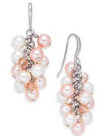 Charter Club Silver-Tone Crystal and Imitation Pearl Shaker Earrings, Created for Macy's