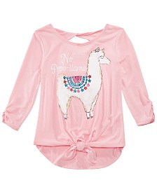 Beautees Big Girls Tie-Front Graphic-Print T-Shirt