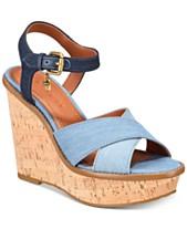 97f879e4d5d COACH Cross Band Wedge Sandals