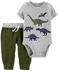 Carter's Baby Boys 2-Pc. Dino-Print Cotton Bodysuit & Pants Set