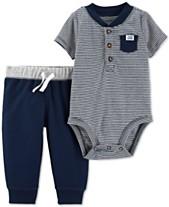 Carters Baby Boys 2 Pc Henley Cotton Bodysuit Pants Set