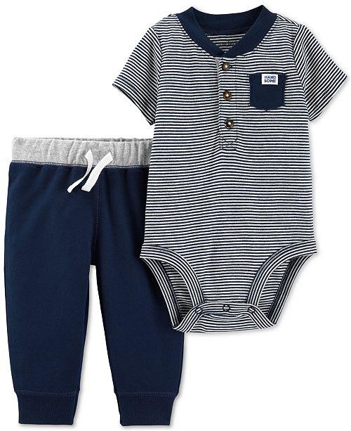 c5a46acd2e4a Carter s Baby Boys 2-Pc. Henley Cotton Bodysuit   Pants Set ...