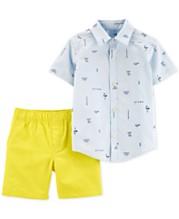 8ce4438cf Carter's Baby Boys 2-Pc. Cotton Shirt & Canvas Shorts Set