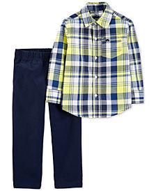 Carter's Baby Boys 2-Pc. Plaid Cotton Shirt & Denim Pants Set