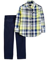 51ba9d36f Carter's Baby Boys 2-Pc. Plaid Cotton Shirt & Denim Pants Set