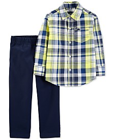 Carter's Baby Boys 2-Pc. Plaid Cotton Shirt & Denim Pants Set