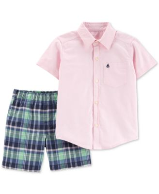 Carters Baby Boys 2-Piece Buttoned Shirt and Short Set