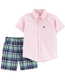 Carter's Baby Boys 2-Pc. Cotton Oxford Shirt & Plaid Shorts Set