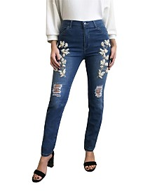 Distressed Pearl Embroidered Jean