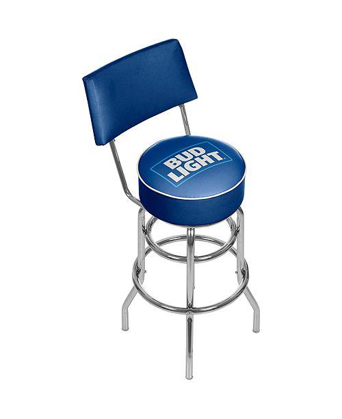 Trademark Global Bud Light Blue Padded Bar Stool with Back