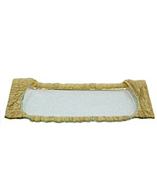 Large Rectangular Glass Tray With Gold Embossed Border
