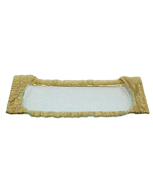 Classic Touch Large Rectangular Glass Tray With Gold Embossed Border