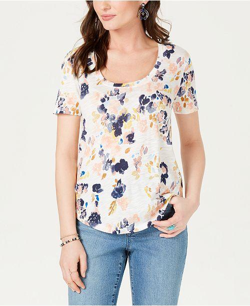 a48f0e8aa5b7a6 Lucky Brand Floral-Print Scoop-Neck Top   Reviews - Tops - Women ...