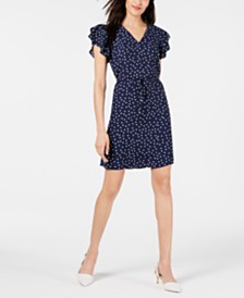 Maison Jules Printed Ruffle-Sleeve Dress, Created for Macy's