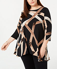 Alfani Plus Printed High-Low Tunic, Created for Macy's