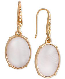Laundry by Shelli Segal Gold-Tone Oval Stone Drop Earrings