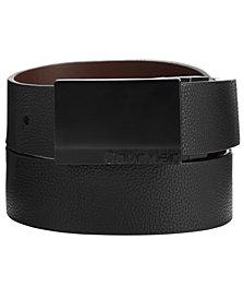 Calvin Klein Men's Reversible Pebble Leather Plaque Belt