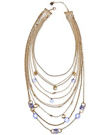 "Laundry by Shelli Segal Gold-Tone Stone Multi-Layer Statement Necklace, 17"" + 2"" extender"