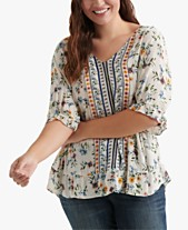 8b7d3af35b8dbe Lucky Brand Plus Size Printed Ruffle Top