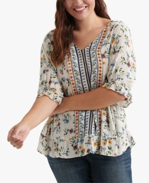 Lucky Brand Tops PLUS SIZE PRINTED RUFFLE TOP
