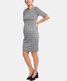 Maternity Plaid Elbow-Sleeve Dress
